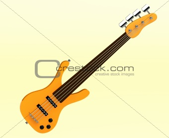 3d yellow bass guitar isolated