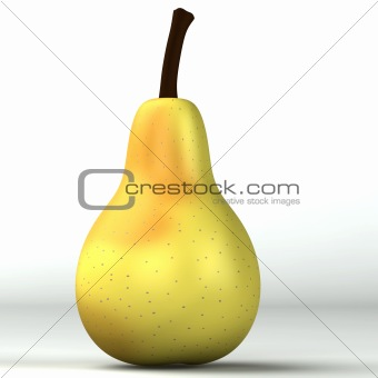 3d light yellow pear isolated