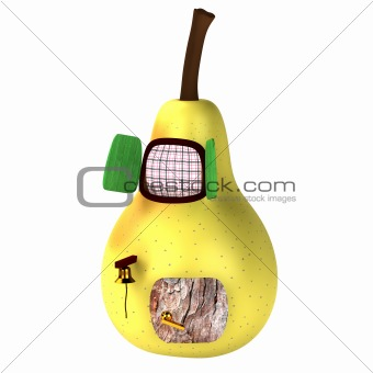 3d light yellow pear house isolated