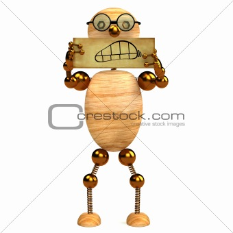 3d wood man angry