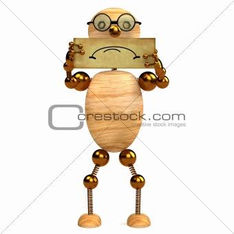 3d wood man sad