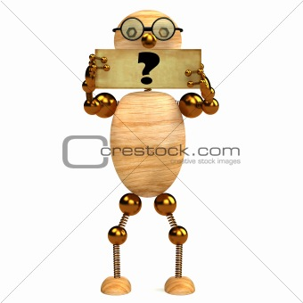 3d wood man with question mark