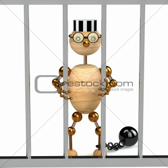 3d wood man as a prisoner