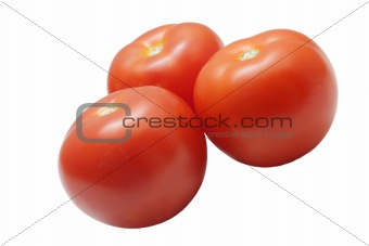 Three ripe tomatoes isolated on white