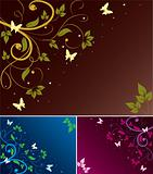 set of abstract floral backgrounds
