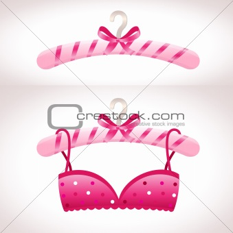 Hanger. Pink bra on a hanger