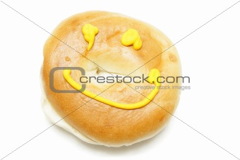 A bagel isolated on white