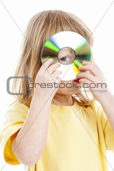 boy with long blond hair standing holding CD - isolated on white