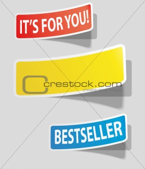 Three realistic colorful sticker for your text.