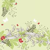 Seamless horizontal floral pastel pattern