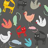 seamless pattern isolated funny animals