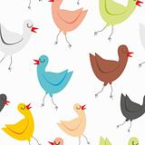 seamless pattern isolated funny birds