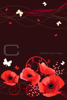 Frame with butterflies and poppies