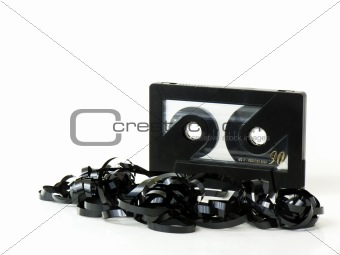 Black magnetic audio tape