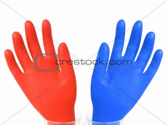 Blue and red hands