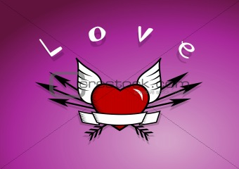 Heart with arrows and wings.