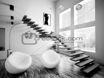 Black white interior 3d render