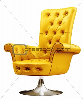 Yellow armchair with clipping path 3d