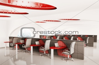 office with laptops 3d