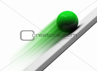 Green chrome ball rolling upwards 3d