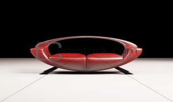 Modern red sofa isolated 3d
