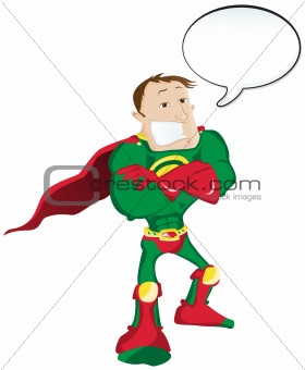 Super hero Man with Speech Bubble