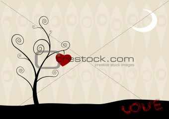 Cartoon tree with hanging heart.