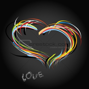Valentine heart from colorful lines.