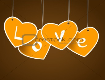 Hanging hearts with love signature.