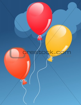 Three balloons in sky