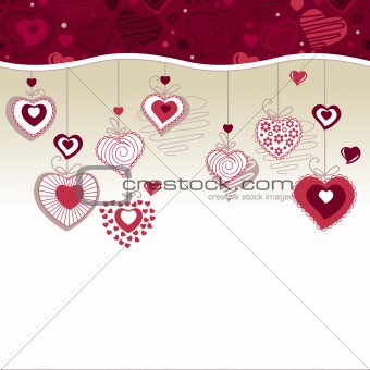 Greeting card with hanging hearts