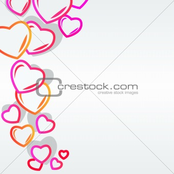 Background with modern hearts