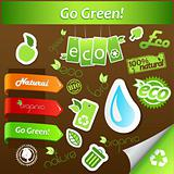 Set of green ecology icons.