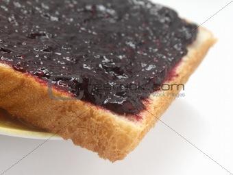 Toast with blackberry jam