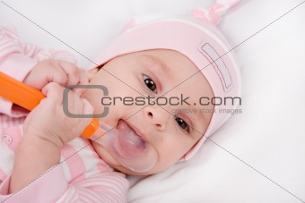 Closeup face of a beautiful newborn girl