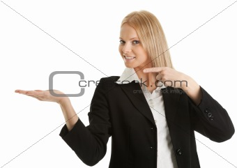 Business woman preseting a product
