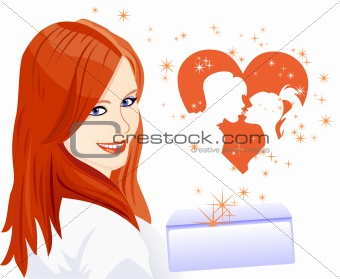 Vector girl received a letter with a declaration of love