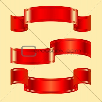 vector set of red bands on a blue background