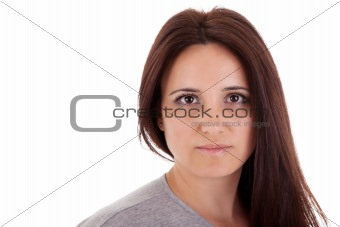 beautiful and serious middle-age woman lying, on white, studio shot