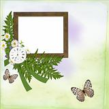 Wooden Frame with flowers and clock