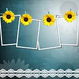 4 Film Blanks Hanging on a Rope With lace and sunflower