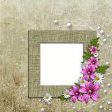 Old wallpaper background with frame and flowers corner 