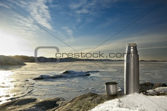 Thermos flask, frozen sea