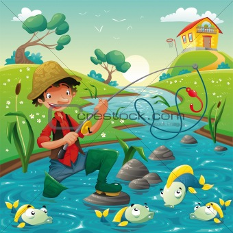 Fisherman and fish in the river
