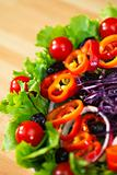 Fresh Lettuce Tomato Pepper Olive Red Onion and Cabbage Salad