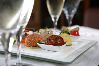 Appetizer between glasses