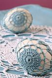 Blue crochet Easter eggs