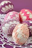 Pink and purple crochet Easter eggs