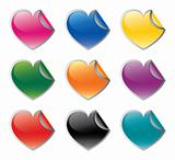 Colorful heart shaped vector stickers set