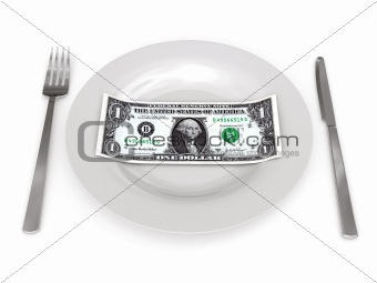One dollar on plate